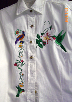 Hummingbird and floral embroidered shirt.